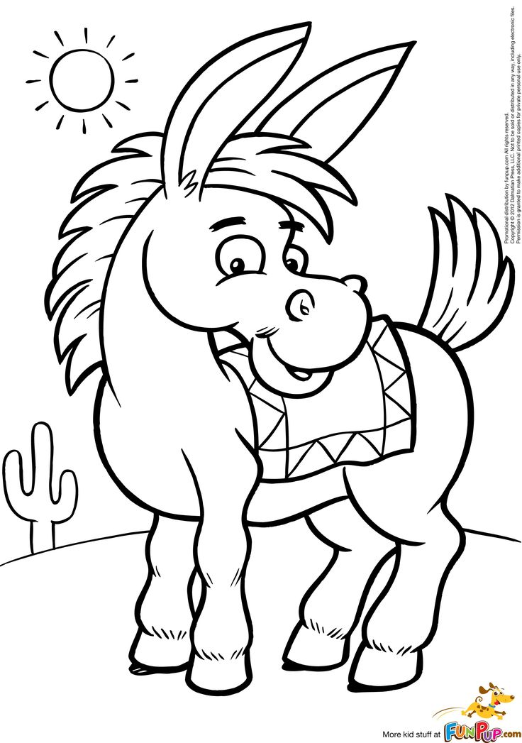 Donkey Coloring Pages Printable Coloring Books Animal