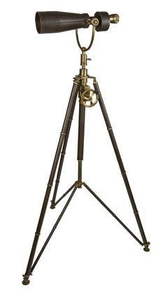 KA039 Monocular on Tripod with Stainless Steel Leathers Brass Material in Black & Brass