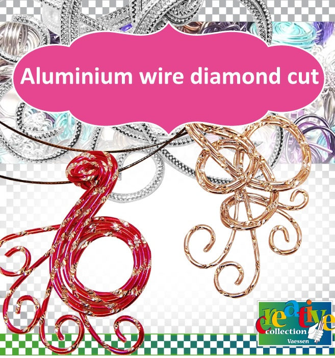 Aluminium wire, diamond cutWire Sieraden, Aluminium Wire, Vaessen Creative, Alu Deco, Diamonds Cut