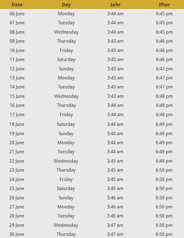 Dhaka Ramadan Calendar Bangladesh - Sehr o Iftar timings 2016