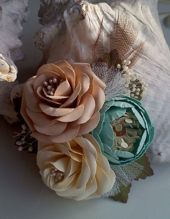This is Victoria's corsage for Prom. I love how unique she is!   Weddings - Paper Flowers - Corsages - Cream - Soft Teal - Champagne  - Made To Order  - Flower Cluster - Set 0f 6. $38.00, via Etsy.