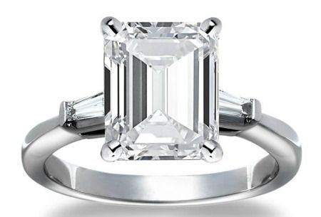 "A glimpse of THE RING!  Finally Justin Theroux asks Jennifer Anniston to marry him and this is what the ring will look like. To quote a source, ""It's a huge emerald-cut diamond. It's a rectangle with tapered diamond baguettes on the sides."" The source estimates the ring to be 8 carats, adding, ""It's beautiful.""    Read More http://www.glamour.com/weddings/blogs/save-the-date/2012/08/jennifer-anistons-engagement-r-2.html#ixzz23dBiMb00"