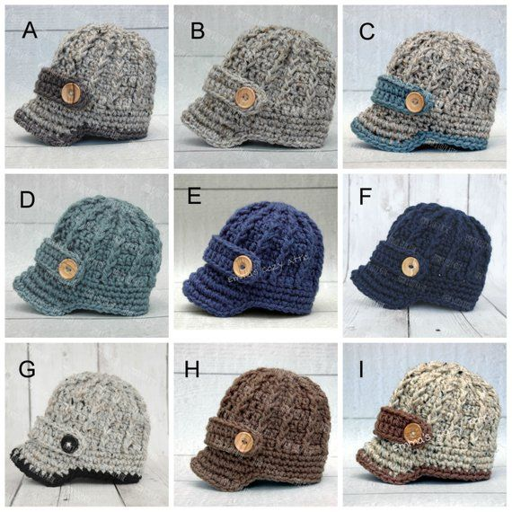 crochet knit baby newsboy infant brim buttons hat cap photography prop