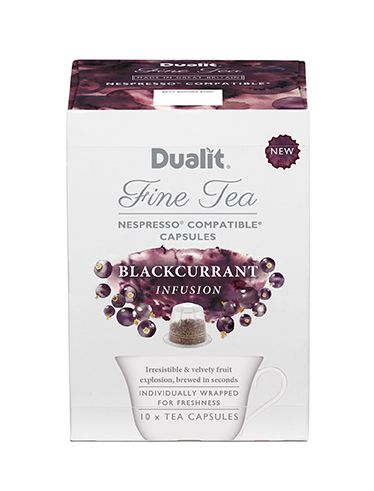Dualit NX Fine Tea Capsule – Blackcurrant Infusion  Irresistible Fruit Explosion  If you like fruit infusions, this takes them to a whole new level. Bursting with lively fruit flavours, this is an irresistible and velvety taste explosion.