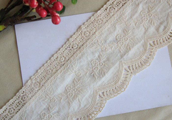 CL011 Free Shipping 15 yds/lot 10CM Wide High Quality DIY National Trend White Cotton Cloth Embroider Lace Trim $37.00