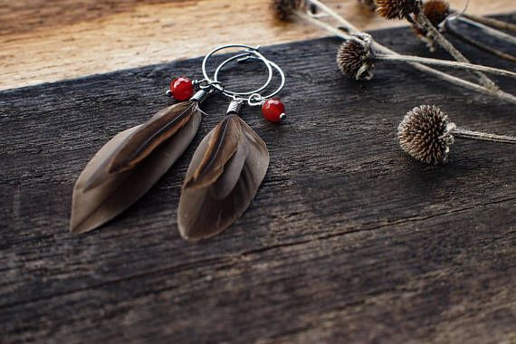 )))))Smokey Plumes((((( This set of tiny earrings are made with collected Smokey grey and chocolate brown Rouen duck feathers. A bright red faceted carnelian nest within the feathers. The hoops are made of hypoallergenic stainless steel and measure 2 cm. The length of the earrings