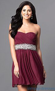 Shop cheap homecoming corset dresses at Simply Dresses. Strapless short party dresses under $100 with wide jeweled waistbands and rolled hemlines.