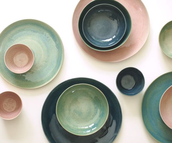 Stoneware Plates Set, Handmade Pottery, Stoneware Ceramic Plates, Ceramic Bowls. Stoneware Dinnerware Dish Set Glazed in Green, Blue, Pink.