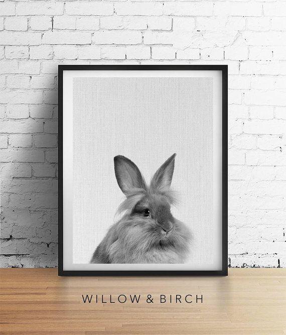 Bunny RABBIT Printable Art Woodland Baby by WillowandBirchPrints