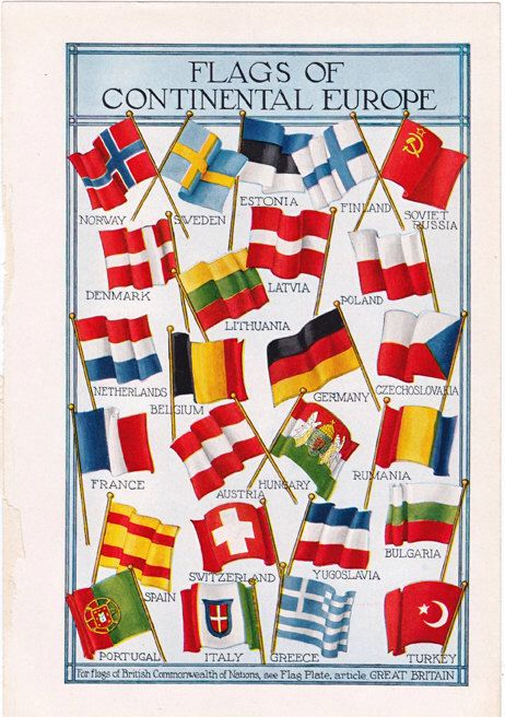 Continental Europe Flags, a 1920's Dictionary Illustration
