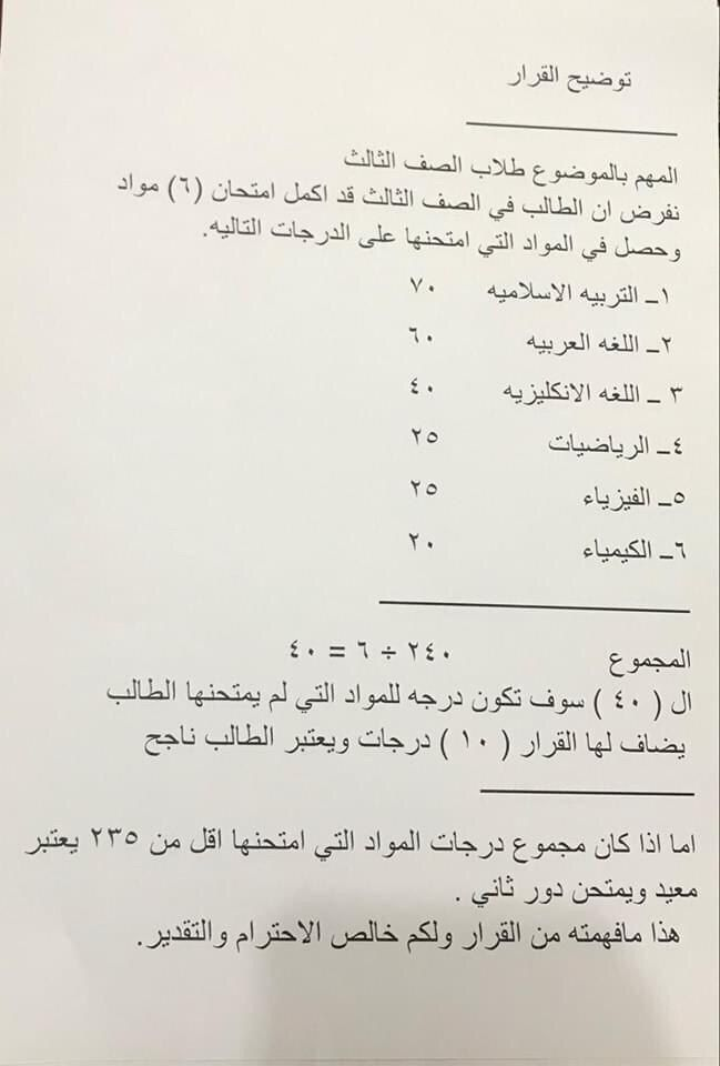 طريقة احتساب المتوسط الحسابي لدرجات المواد الدراسية التي لم تمتحن حسب قرار وزارة التربية هيئة الرأي في وزارة التربية تتخذ قرار Math Math Equations Sheet Music