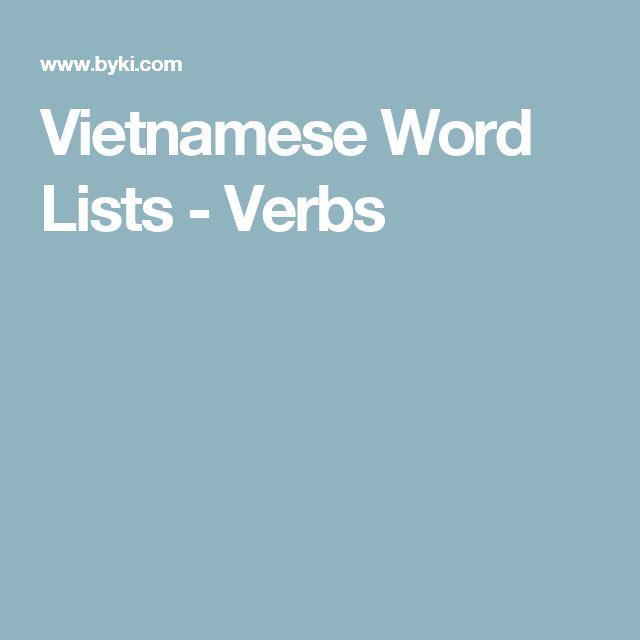 Vietnamese Word Lists - Verbs