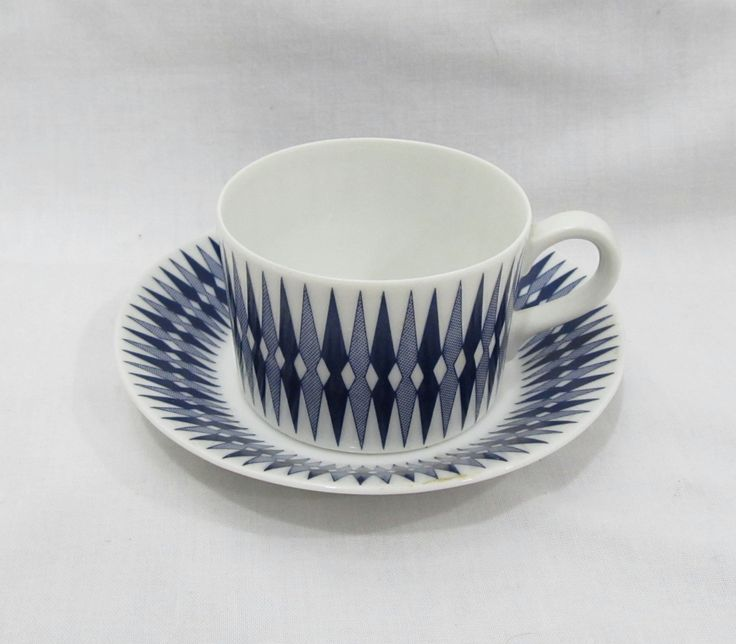 Vintage Arabia Mid Century Modern Blue/ White Espresso Coffee Cup & Saucer by junkinthetrunkbootiq on Etsy