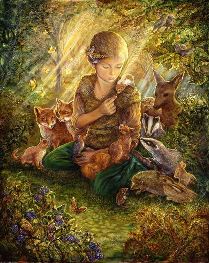 Forest Friends  In a sunlit glade, this young boy of the woods who has a very special affinity with all the forest creatures, sits and waits for them to assemble.   As his animal friends gather round they sense his kind and free spirit.  Surrounded by this positive energy, all thoughts of flight or fight are gone.  They forget all their fears and just enjoy each others company, watched over by forest spirits amongst the trees.        Josephine.