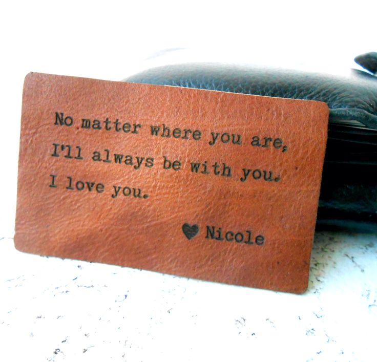 Wallet Insert Card, Personalized Leather Wallet Insert Card, 3rd Leather Anniversary Gift, Mens Gift by KostaLeatherGoods on Etsy https://www.etsy.com/listing/188030268/wallet-insert-card-personalized-leather