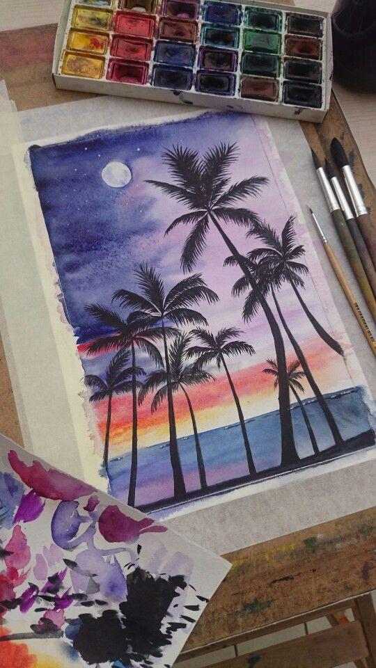 #остров #акварель #aquarelle #island #watercolor #painting #paint #palms #sky