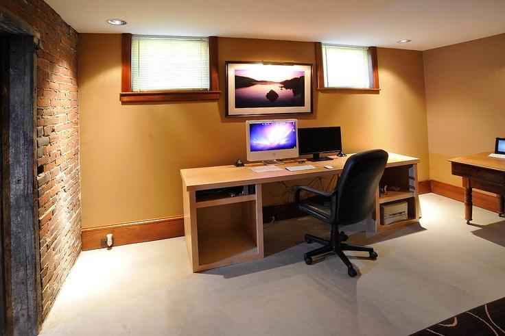 basement office basement ideas home office exposed brick office ideas
