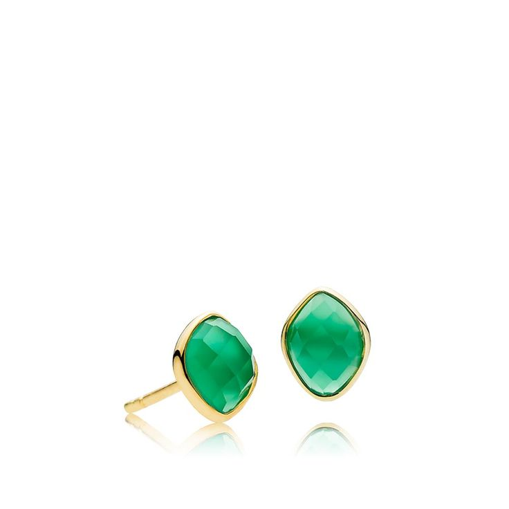 PRECIOUS earrings with beautiful green onyxes. The earrings are made of shiny gold plated sterling silver – Danish design jewelry by Izabel Camille. Price: EUR 54 No. A1413gs-green onyx   www.izabelcamille.com