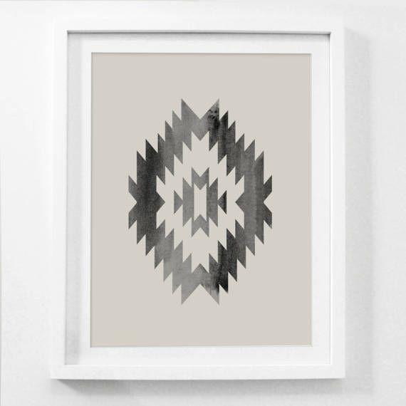 Southwestern Decor, Southwestern Wall Art, Tribal Wall Decor, Southwest Art, Nordic Prints, Framed Print, Beige and Black