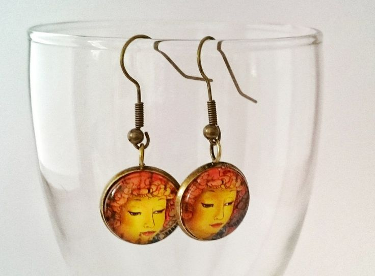 Postage stamp angel earrings by Vintagestylecrafts on Etsy