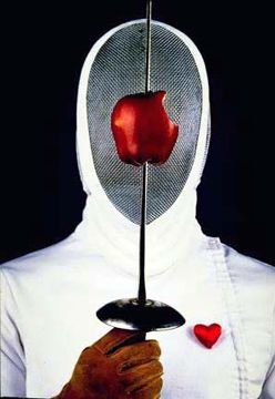 Fencer, heart and apple