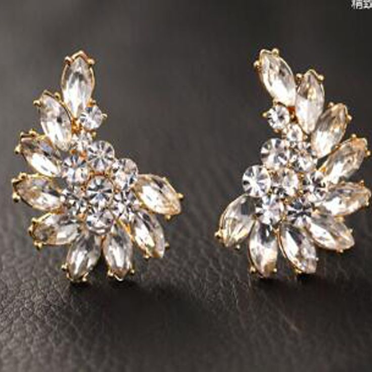 Black White Imitation Gemstone Gold Aretes Stud Earrings Brinco Argola For Women Pendientes Grandes boucle d'oreille XY-E217