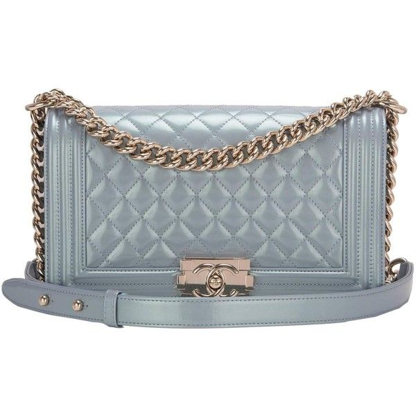Chanel Light Blue Iridescent Calfskin Medium Boy Bag (23,230 ILS) ❤ liked on Polyvore featuring bags, handbags, chanel, light blue bag, chanel handbags, calfskin purse and chanel purse