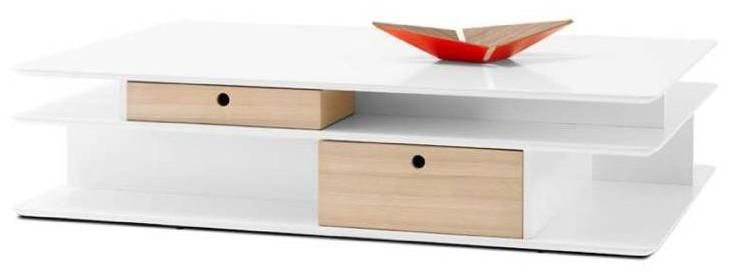 OCCA coffee table , white lacquered. Drawers , 2pc,oak veneer