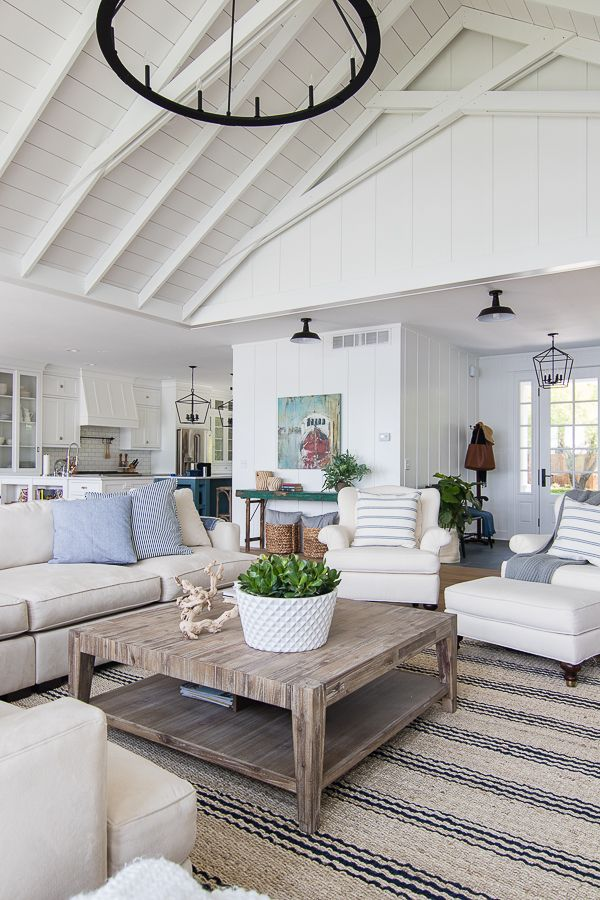 Beach House Style Blue And White Living Room White Living Room