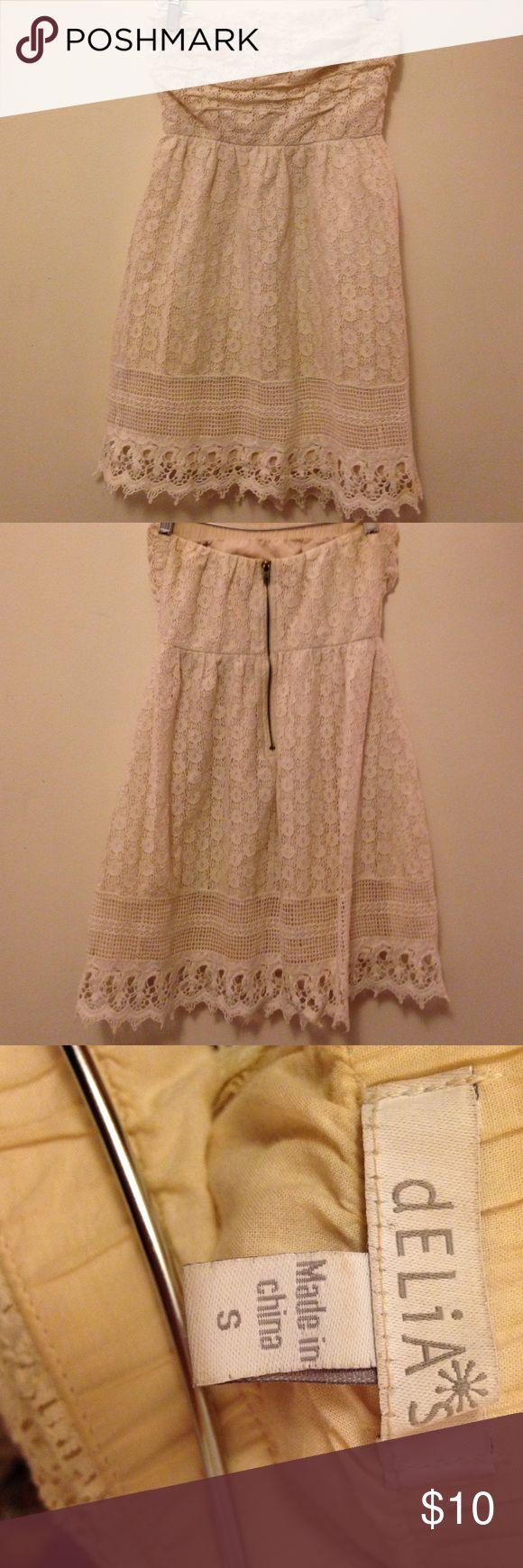 White Strapless Summer Dress Delia's white summer strapless dress. Size S. Barely worn, no damages! Delia's Dresses Strapless