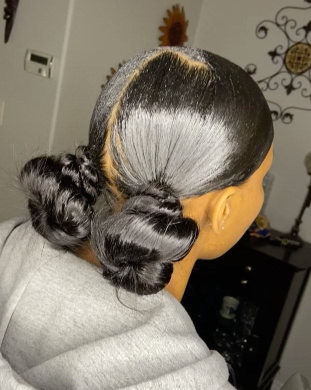 Stylezbyjordy On Instagram 2 Low Knots With A Swoop Book An Appointment Today Hair Ponytail Styles Birthday Hairstyles Natural Hair Styles Easy