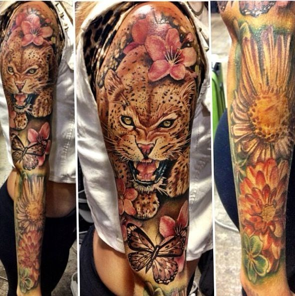 Gorgeous leopard tattoo tattoo art pinterest for Full sleeve tattoo prices