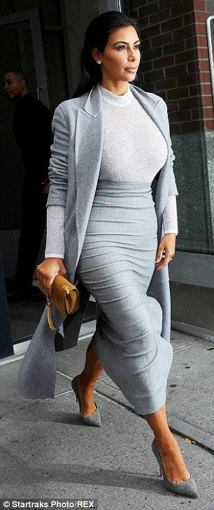 Kim Kardashian impresses in clingy top and skirt for lunch with Kanye #dailymail