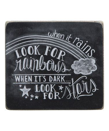 Look at this #zulilyfind! 'Look for Rainbows, Look for Stars' Box Sign #zulilyfinds