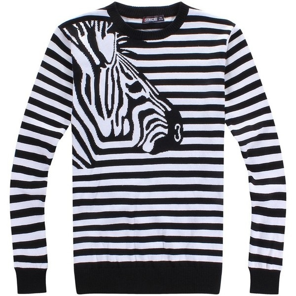 MLQS Zebra Knit Top Code: 20117699 - Men's Sweaters & Cardigans -... ($14) via Polyvore