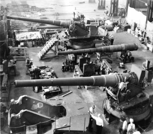 This are 16 inch gun barrels being built at the Baldwin Locomotive plant in Philadelphia pa. These guns are for the USS NEW JERSEY photo dated early 1942: Jersey Photos