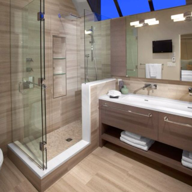 Shower half wall bathroom design interior house ideas bathroom