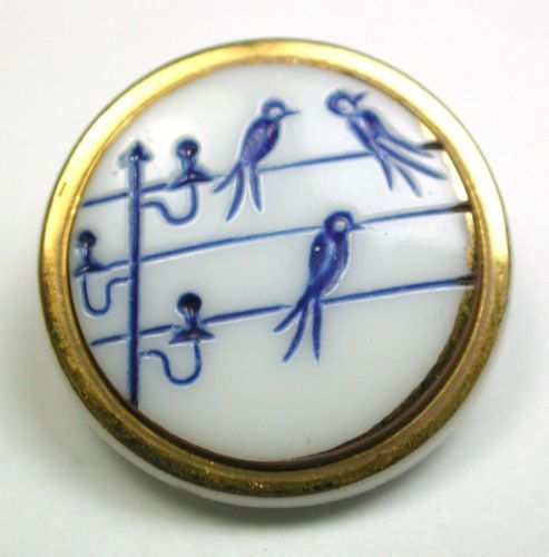 Vintage Glass Button 3 Birds on A Telegraph Wire Design w Paint Gold Luster ...WOW!!!