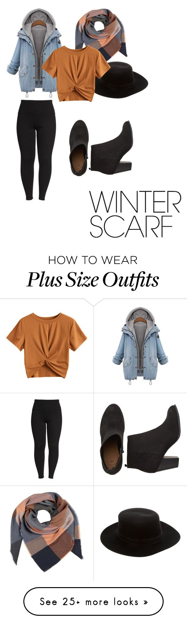 """""""Orangy"""" by francesadele on Polyvore featuring Lyssé Leggings, Janessa Leone, winterscarf and plus size clothing"""