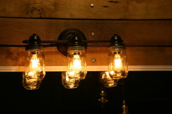Mason jar vanity light wall sconce 3 mason jar bathroom light edison bulbs included on etsy for Edison bathroom light fixtures