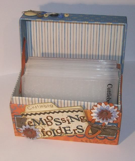embossing folders storage box from a recipe file box---  {number folders to match key ring idea} *()
