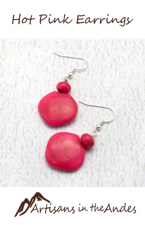 Bring a wow factor to your look. These sweet hot pink earrings will become your go to set - adding a pop of color, but lightweight and comfortable. #fairtrade #fairtradefashion #fairtradejewelry #fairtradegifts