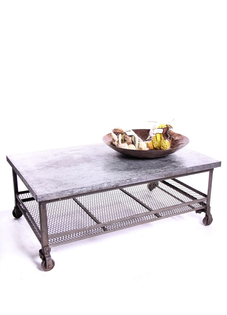 Iron/galvanized top coffee table with storage.
