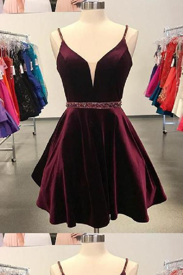 be914b39feaf A-Line Homecoming Dresses, Simple Homecoming Dresses, Burgundy Homecoming  Dresses, Short Homecoming Dresses #ALineHomecomingDresses  #SimpleHomecomingDresses ...