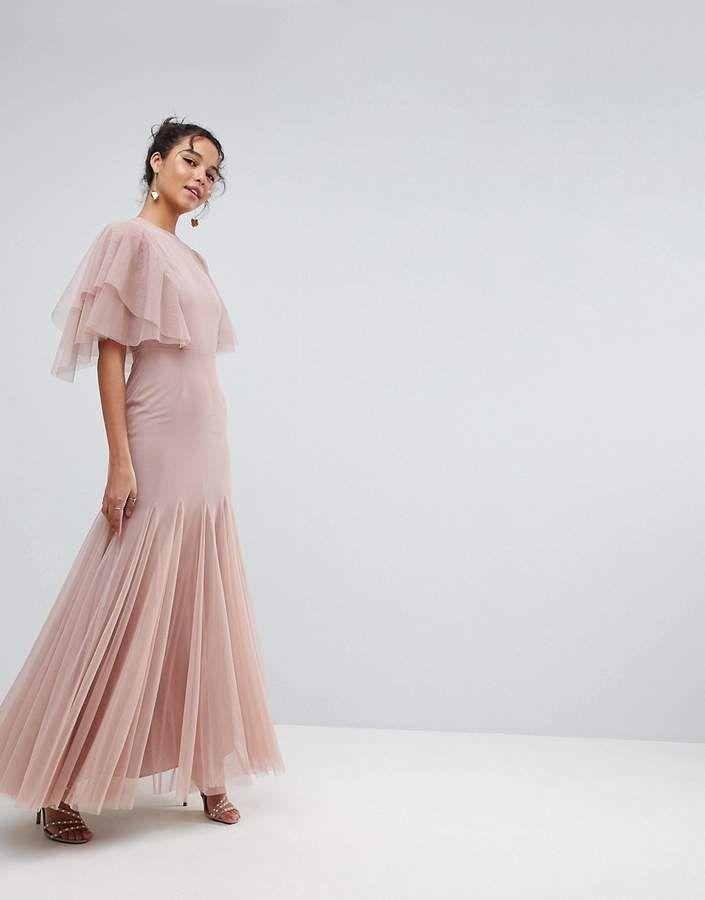 Asos Tulle Godet Flutter Sleeve Maxi Dress Maxi Dress With Sleeves Godet Dress Flutter Sleeve Dress