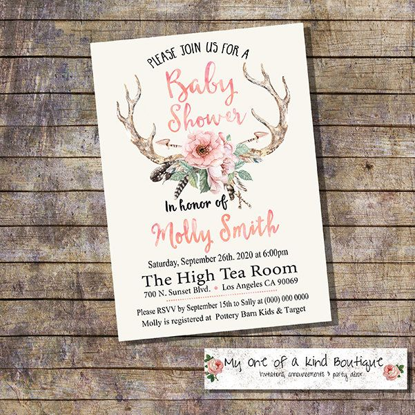 Baby Shower invitation Shower Party invite bohemia antlers feather flowers Boho watercolor digital printable invitation 13912 by myooakboutique on Etsy