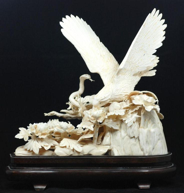 Chinese carved wooden gods ivory eagle
