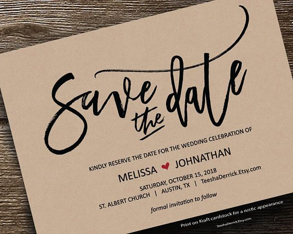 Save the date card PDF editable template instant download Save
