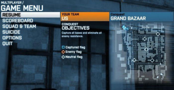 Battlefield menu example