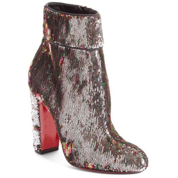 Women's Christian Louboutin Unicorn Moulamax Sequin Bootie ($945) ❤ liked on Polyvore featuring shoes, boots, ankle booties, silver sequin, silver booties, red bootie, silver sequin boots, ankle boots and red boots